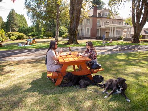 Sipping wine at the dog-friendly Canines Uncorked wine tasting tour in Tualatin Valley, Oregon